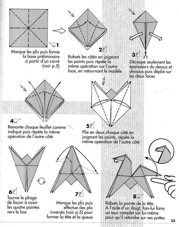 Origami facile cheval - Origami simple a realiser ...