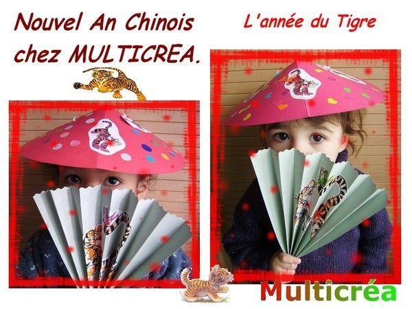 enfants  eventails et chapeaux chinois